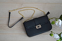 Кожаная черная сумка-клатч VirginiaConti