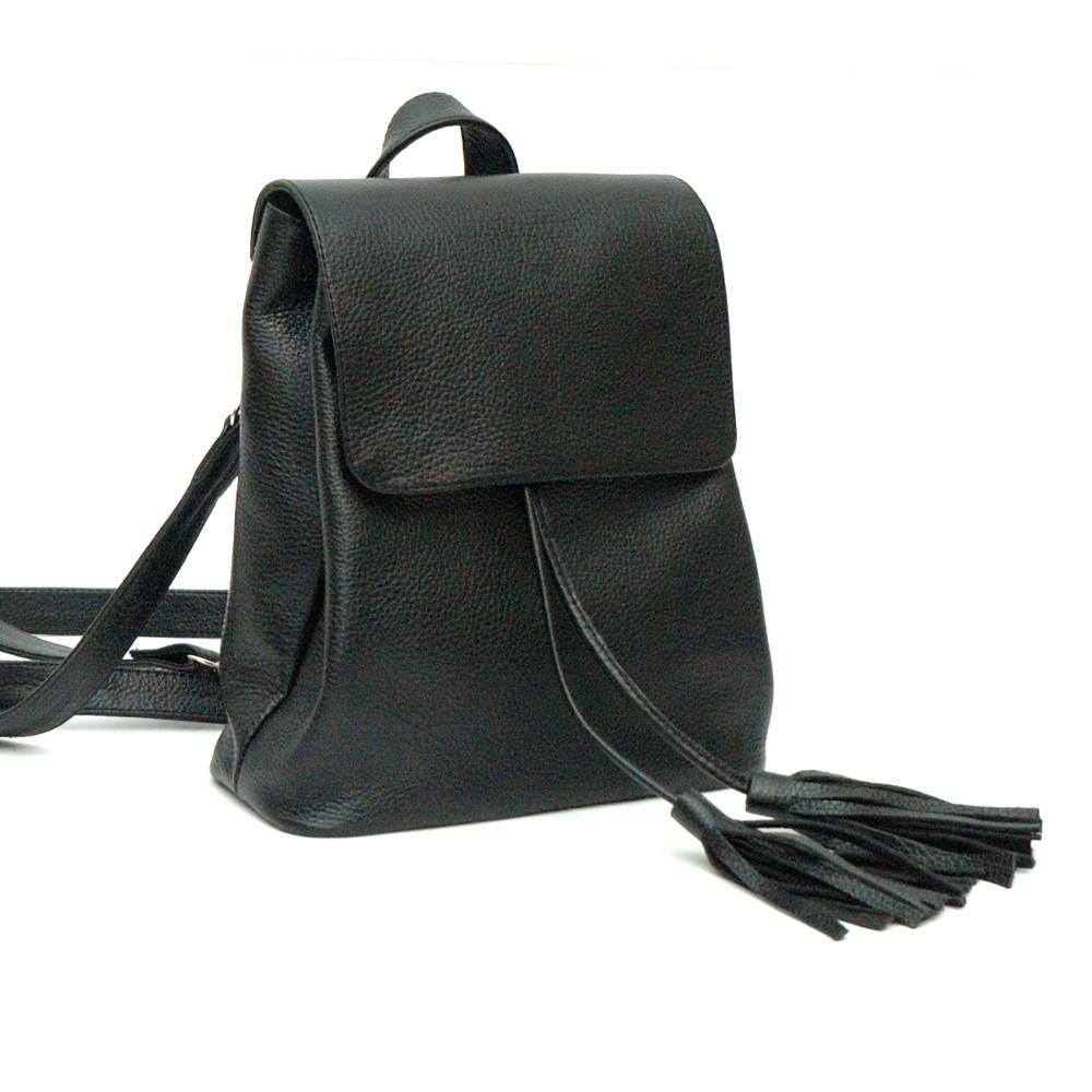 Женский кожаный рюкзачок 03 черный флотар 02030107