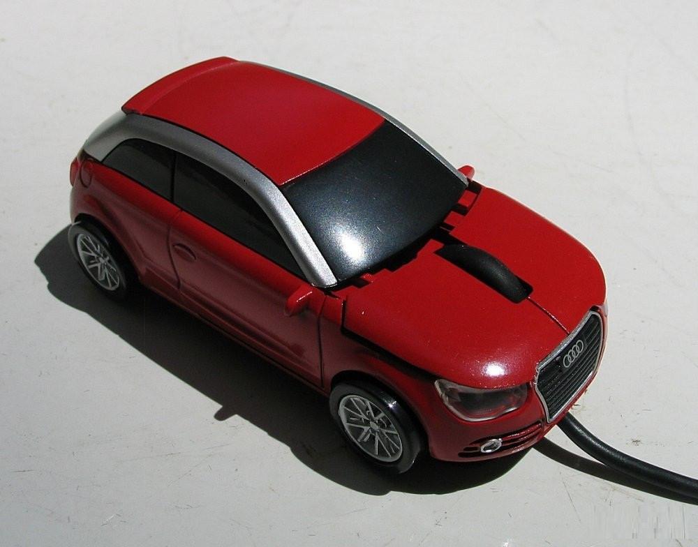 Мышка компьютерная проводная Audi A1 красная