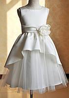 Д-101791 Белые детские выпускные платья с ассиметричной пышной юбкой