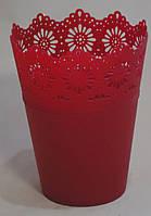 Кашпо пластиковое красное большое