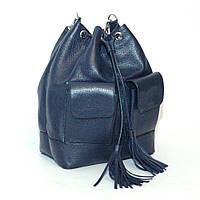 Женская кожаная сумка. Модель 17 синий флотар
