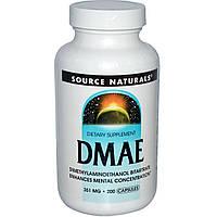 ДМАЭ (DMAE) Source Naturals, 200 капсул.
