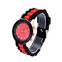 Женские часы Geneva Luxury черные с красным