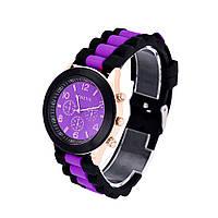 Женские часы Geneva Luxury черные с фиолетовым