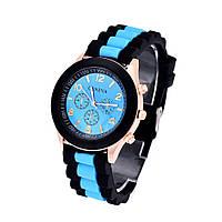 Женские часы Geneva Luxury черные с голубым