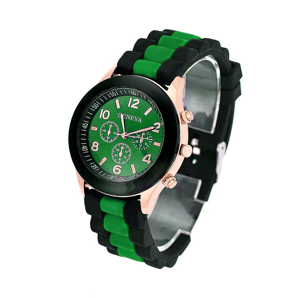 Женские часы Geneva Luxury черные с зеленым