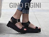 Босоножки из экокожи черного цвета на платформе высокие , С- ежик TM Gino Figini