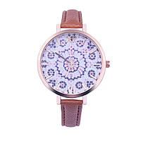 Нежные оригинальные женские часы , коричневые