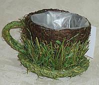 Кашпо чашка с сухоцветом