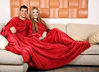 Плед с рукавами для двоих из микрофибры Красный 290*180 см