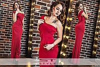 Красное летнее платье в пол .с воланами