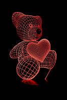 "3D Лампа ""Мишка с сердцем"""