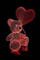 "3D Лампа ""Мишка с сердцем на верёвочке"""