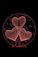 "3D Лампа ""Круг с тремя сердцами и надпись ""I Love You"""