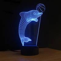 """3D Лампа """"Дельфин с мячём"""""""