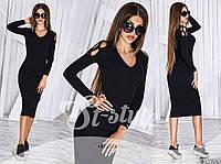 Строгое вязаное черное женское платье