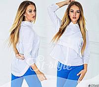 Женская весенняя белая  блуза-обманка
