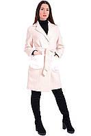 Женское пальто на пуговицах бежевого цвета. Модель Kid 24.