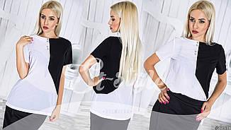 Блуза шифоновая двухцветная летняя женская  , фото 2