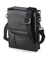 Мужская сумка Bradford 889-0 черная на три отдела искусственная кожа размер 14см х 18см х 5см, фото 1