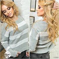 Стильный молодежный свитер в полоску серого цвета. Модель 11895.