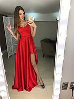 Вечернее платье  длинное, ткань королевский атлай, цвет красный, черный супер качество ля № валентино