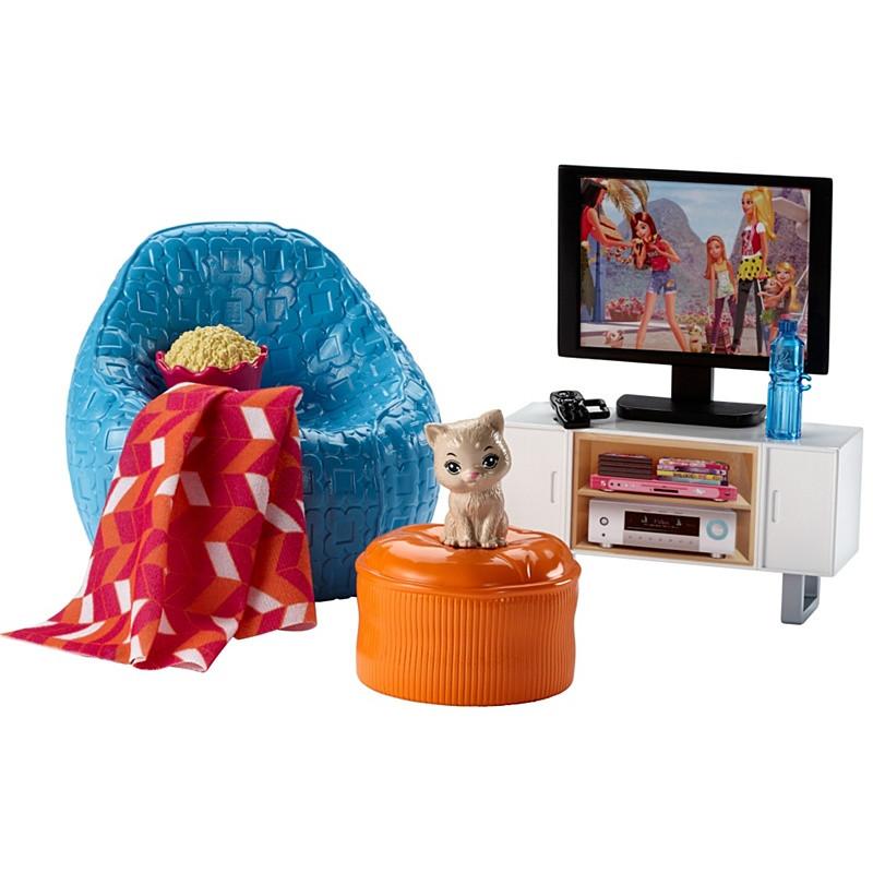 Barbie Мебель для кукол Отдых дома Вечер у телевизора / Barbie Movie Night & Kitten Playset - Магазин брендовых игрушек «TL-KIDS» в Киеве