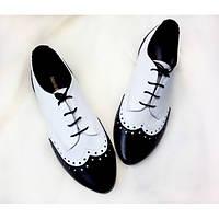 Туфли Т-415 кожа натуральная цвет черного цвета с белым TM Gino Figini