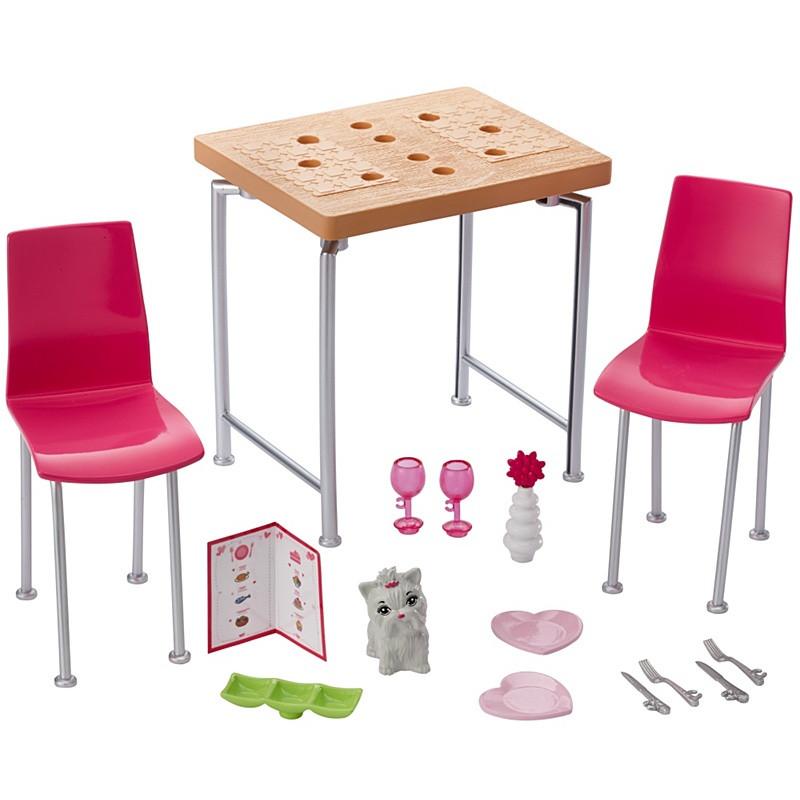 Barbie Меблі для ляльок Відпочинок вдома Обідній стіл / Barbie Dining Set & Kitten