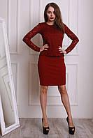 Бордовый женский костюм-двойка приталенного пошива