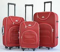 Чемодан Bonro Lux набор 3 штуки красный клетка