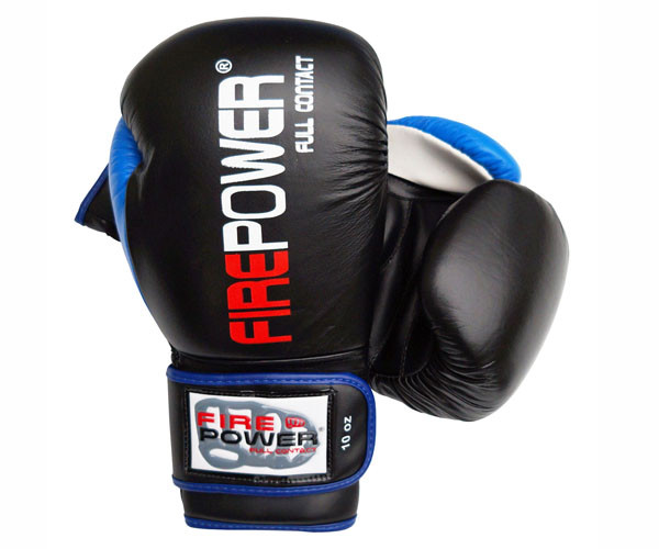 Боксерские перчатки Firepower FPBG9 Черные с синим
