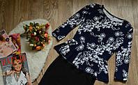 Кофта-баска принт цветы диагональ