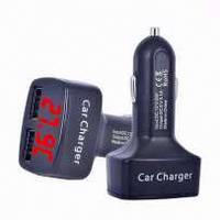 Вольтметр Термометр Зарядное автомобильное (синяя подсветка) в прикуриватель