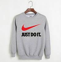 Мужской СВИТШОТ Nike - Just Do It. (Найк) Gray, black 🔥