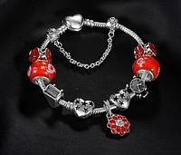 Женский браслет в стиле Пандора красный, фото 1
