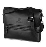 Мужская сумка Bradford 889-6 черная из искусственной кожи на три отделения размеры 32см х 26см х 7см