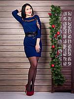 Красивое платье пошива «летучая мышь» с вставкой гипюровой ленты M, L, XL
