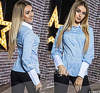 Стильная хлопковая женская блуза с манжетами