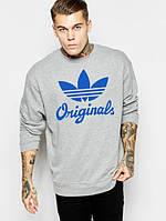 Мужской СВИТШОТ adidas Originals (Свитер Адидас Оригинал Серый) Gray 🔥