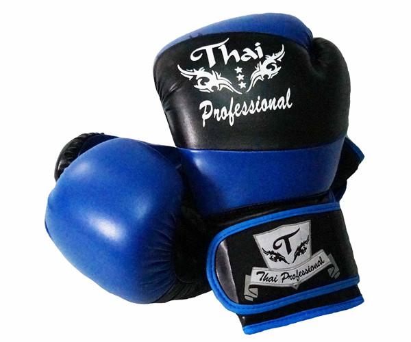 Боксерские перчатки Thai Professional BG7 Черные с синим