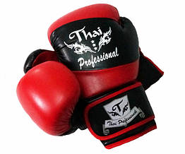 Боксерские перчатки Thai Professional BG7 Черные с красным