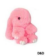 Мягкая игрушка кролик натуральный мех розовый