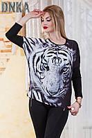 Асимметрическая кофта-туника  с тигром.