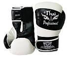 Боксерские перчатки Thai Professional BG7 Черные с белым, фото 2