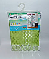 Штора для ванної тканинна однотонна салатова