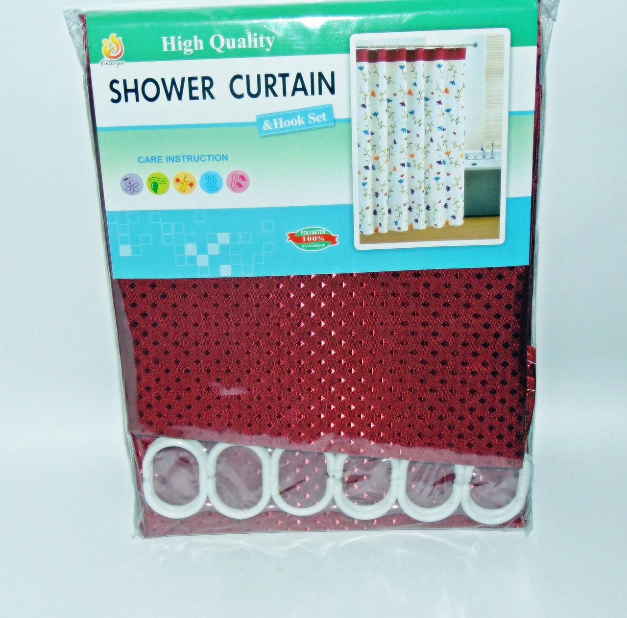 Штора для ванной тканевая однотонная бордовая