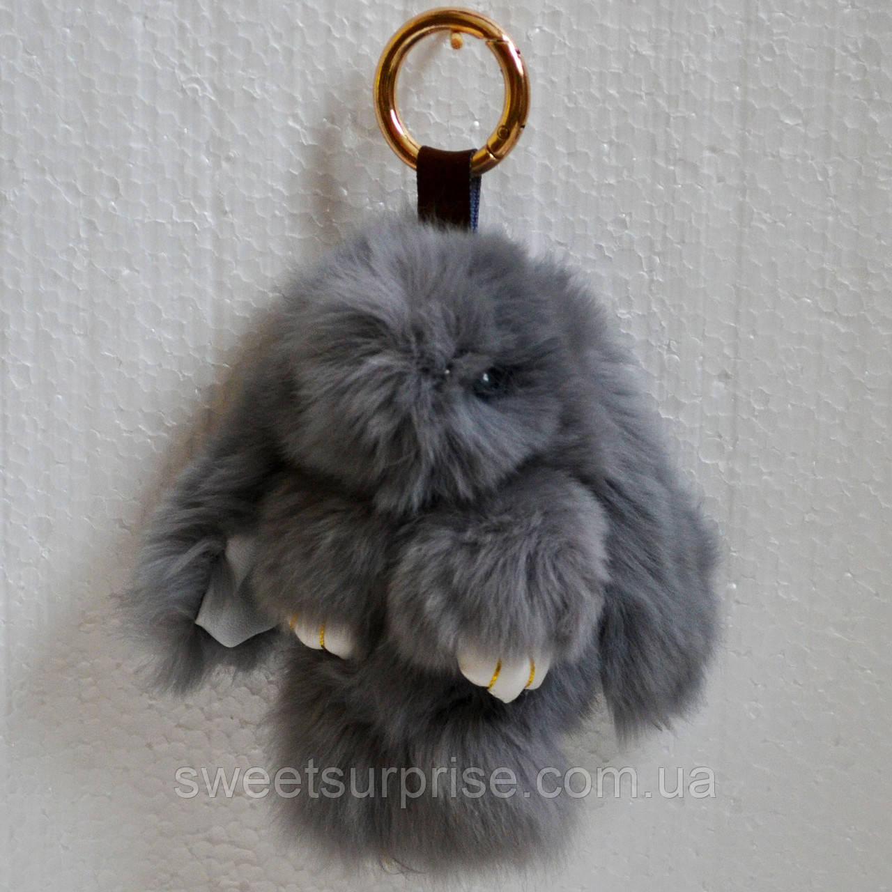 Брелок кролик 13 см. (серый)