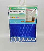Штора для ванной тканевая однотонная синяя